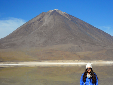 The largest volcano in Bolivia, which shares a border with Chile.