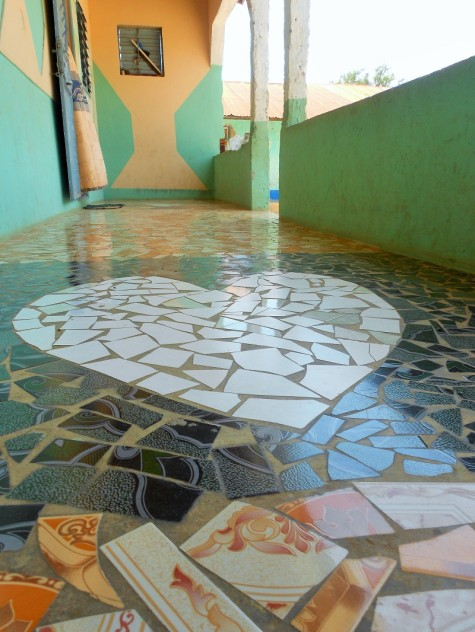 "The beautiful tile on the verandah of the main house, which my host ""cousin"" built."