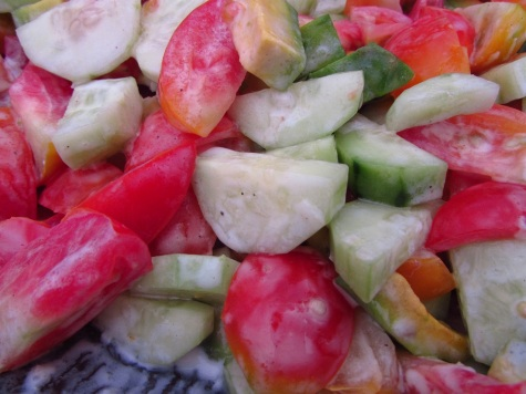 tomato, avocado, cucumber salad with yogurt garlic lime dressing!
