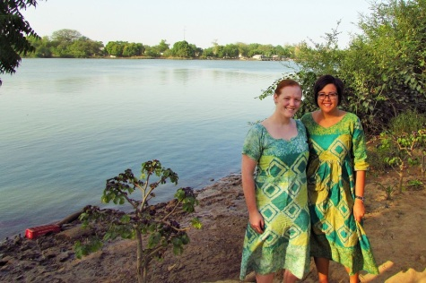 Nora and I in our asobis,  matching batik dresses.