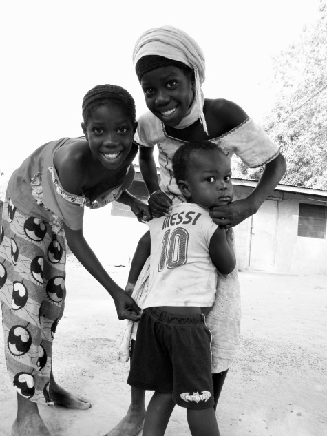 Twins Hawa and Adama (children 5 &6) with Alagie (child number 9) also believe in my Lucky #10 theory!